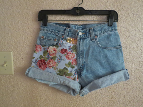 Floral denim shorts by StudsStripes on Etsy