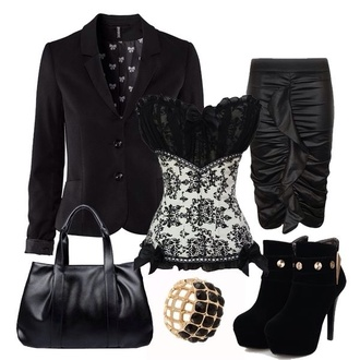 blouse corset skirt heels booties purse bracelets romper jacket