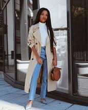 coat,trench coat,turtleneck,jeans,mules,handbag,round bag,earrings