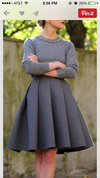 dress long sleeved dress grey classy