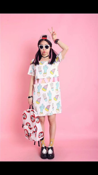 dress cute dress cactus neon dress neon colors fashion funny kawaii dress white dress pattern patterned dress