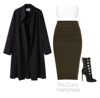 skirt khaki fashion white high heels shoes
