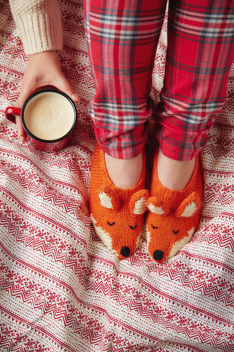pajamas tumblr tartan flannel knitted socks socks coffee holiday season holidays christmas fox hipster lazy day cozy christmas pajamas