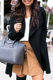 skirt,tumblr,camel skirt,nude skirt,mini skirt,suede,suede skirt,bag,givenchy,givenchy bag,grey bag,coat,black coat,top,white top