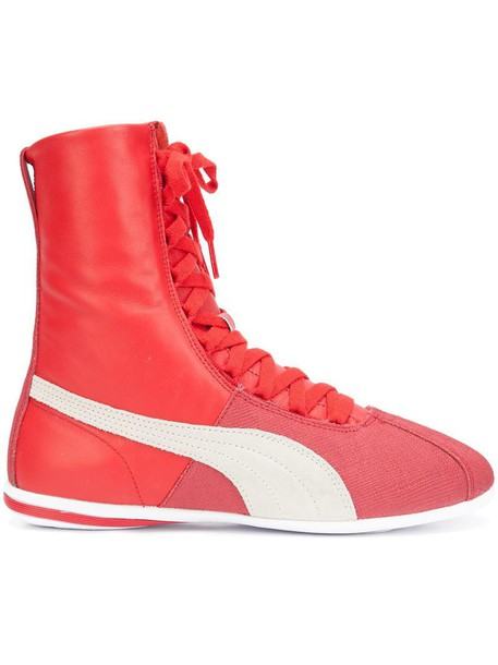 puma women sneakers lace leather red shoes