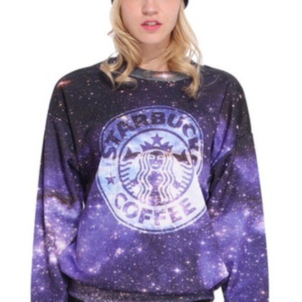 sweater galaxy print starbucks coffee