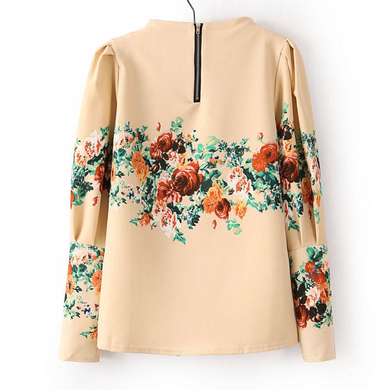 Beige Floral Pattern Puff Sleeve Back Zipper Blouse