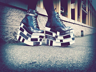 shoes platform shoes grunge goth street goth checkered black and white leather shoes metal buckles extreme high top sneakers flatforms chunky shoes