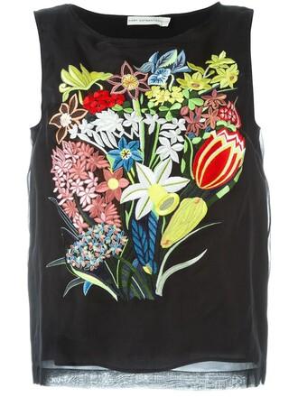 top embroidered women black silk