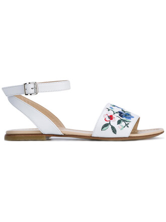 sandals floral leather white shoes