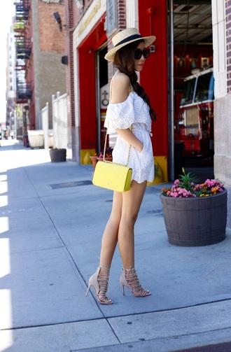 romper summer hat white romper yellow bag beige strappy sandals blogger