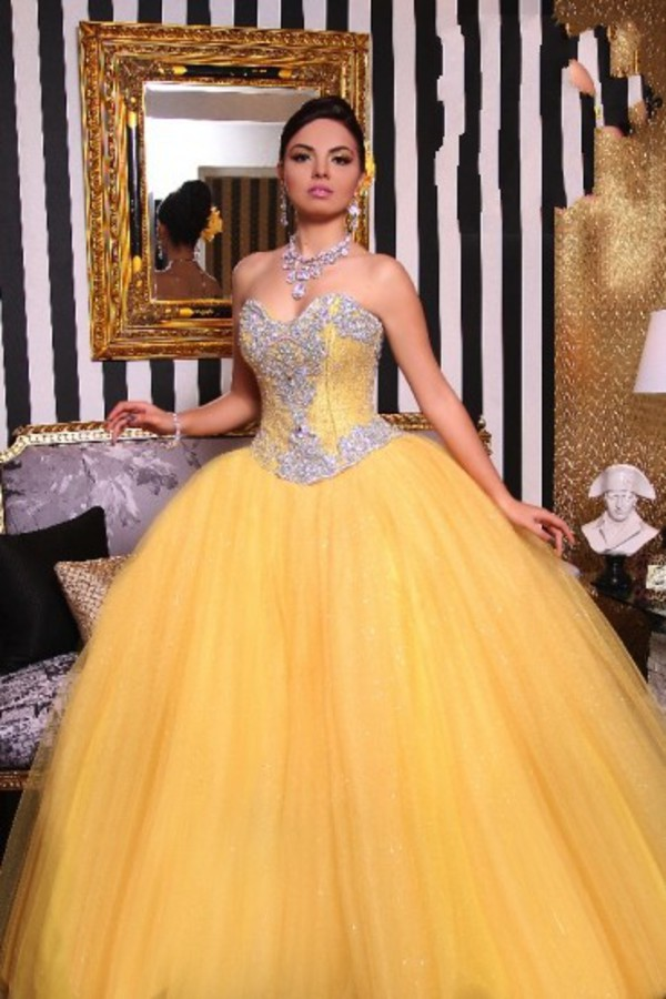 Sweet 15 Dresses Cheap Yellow Quinceanera Dresses Quinceanera Gown ...