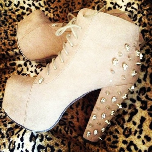shoes high heels nude stud boots 5 inch