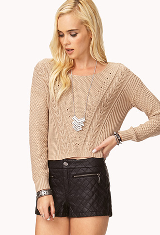 Favorite Cable Cropped Sweater | FOREVER 21 - 2000112049