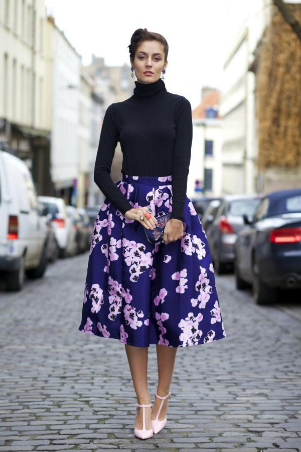 Pink on Navy Floral Midi Skirt - Retro, Indie and Unique Fashion