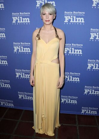 dress michelle williams yellow gown prom dress maxi dress