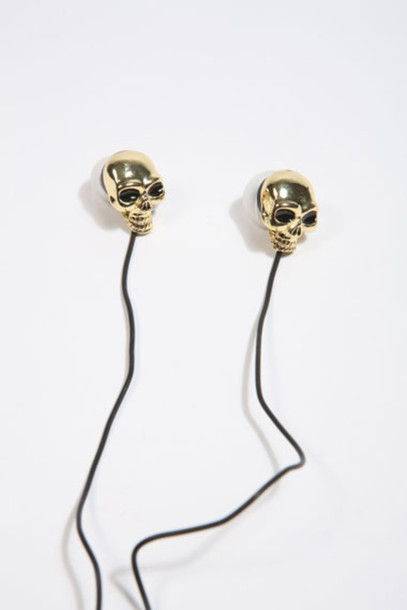 jewels headphones golden scull gold music gothic scull rock'n'roll skull, gold, headphones,