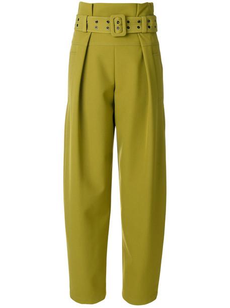 high women spandex silk green pants