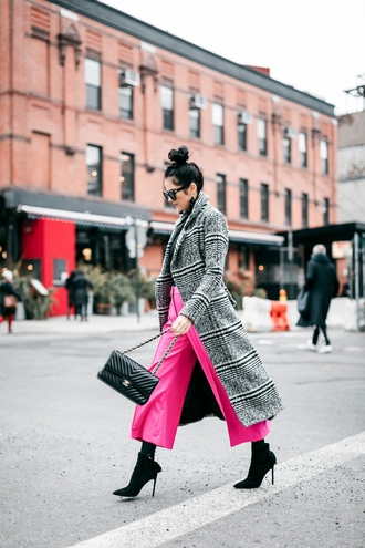 pants tumblr pink pink pants culottes cropped pants coat plaid plaid coat boots bag