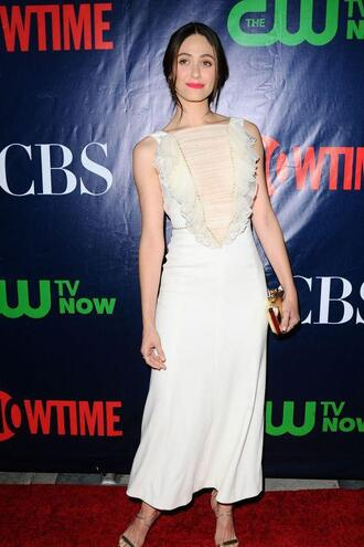dress white dress emmy rossum sandals gown shoes