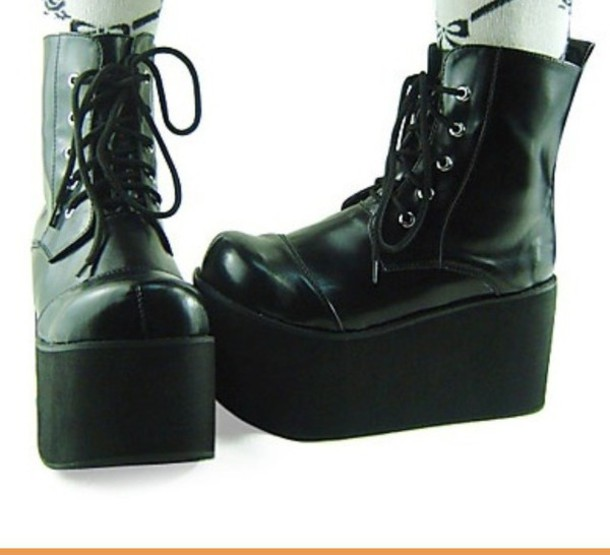 Shoes: creepers, boots, nu goth, goth, pastel goth, lolita, creepy cute, platform boots ...