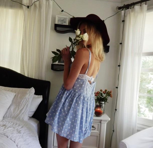 dress dress pretty blue dress summer dress indie summer polka dots polka dot skirt polka dots dress tumblr flirty dress blue white sexy