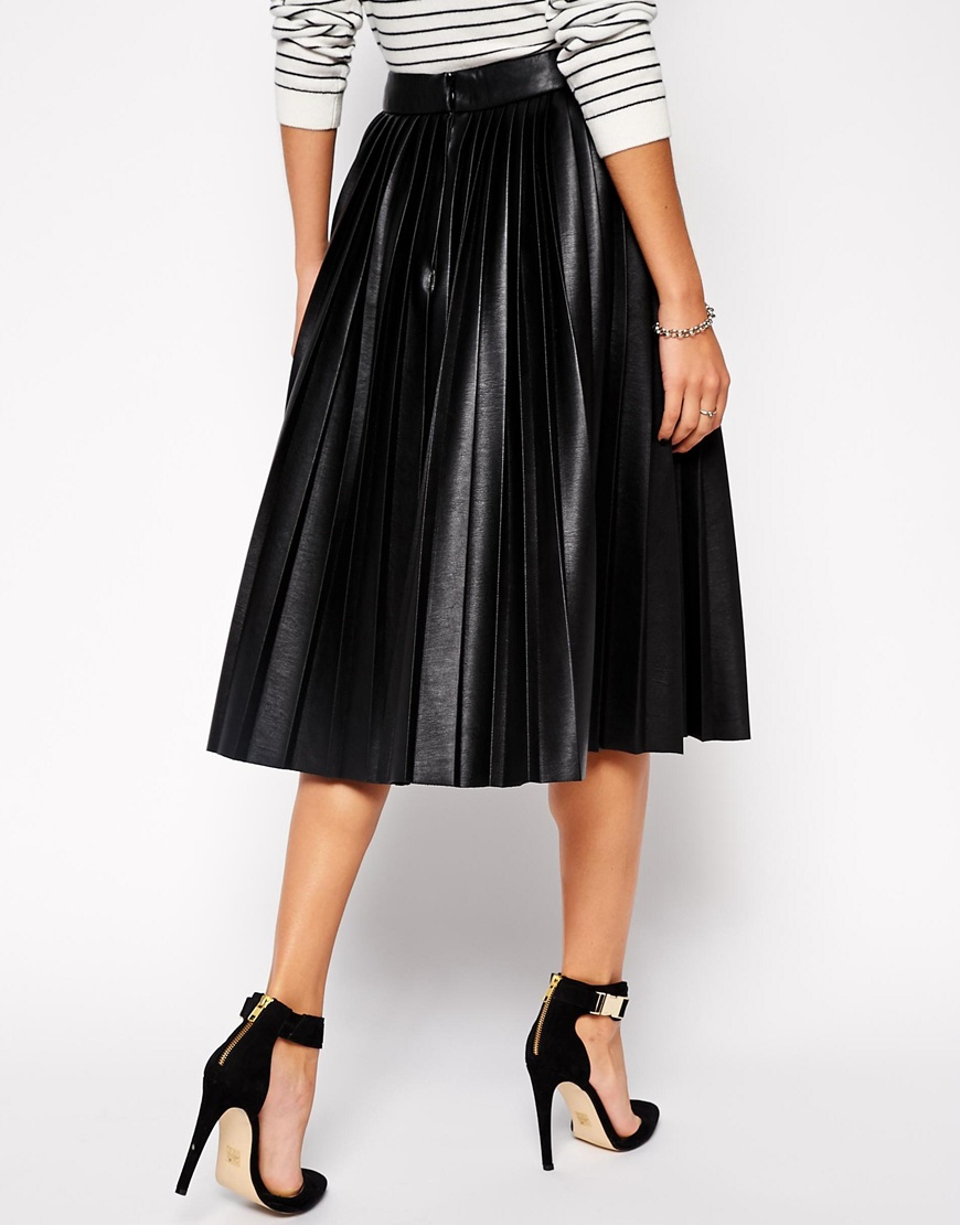 Pleated Midi Skirt in Leather Look at asos.com