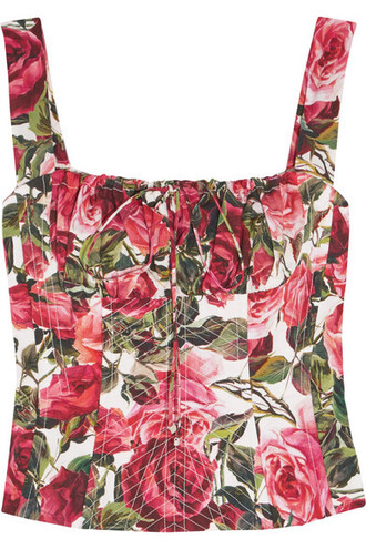 top bustier bustier top floral cotton print red