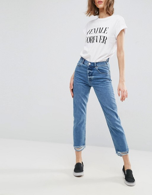 attractive price autumn shoes save off ASOS FLORENCE Authentic Straight Leg Jeans in Mid Wash ...