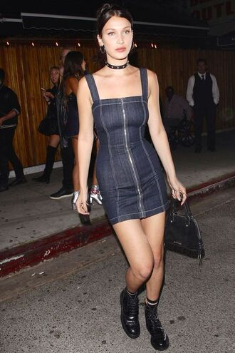 dress reformation reformation dress denim dress mini dress blue dress bodycon dress short dress boots black boots flat boots black choker choker necklace bag black bag bella hadid celebrity model off-duty model