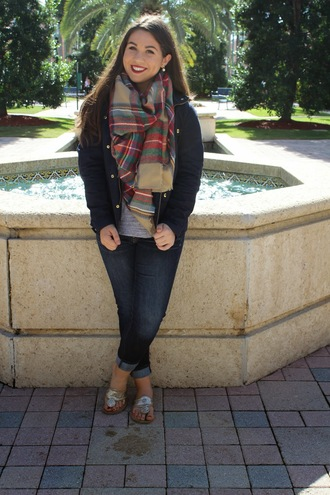 madison lane blogger jacket sandals tartan scarf