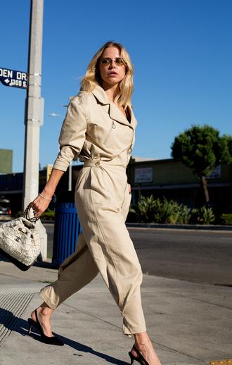 jumpsuit tumblr overalls nude jumspuit shoes mid heel sandals slingbacks bag bucket bag chanel chanel bag sunglasses