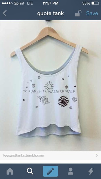tank top moon stars tumblr top tumblr outfit you aren't a waste of space planets