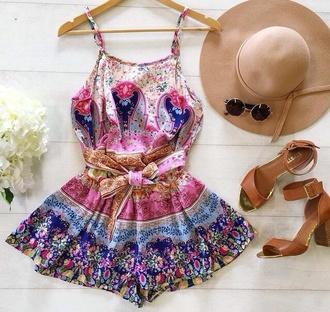 dress romper colorful dress beach dress boho chic summer dress coat jumpsuit summer pink fashion style fashion inspo floral boho romper
