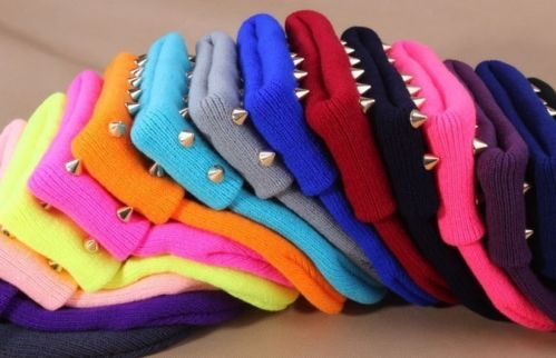 Womens Men's Unisex Beanie Hat Knitted Hat Silver Rivet Studs Studded 10 Colors | eBay