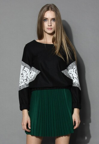 top chicwish lace inserted top black wool blend jumper fashion and chic
