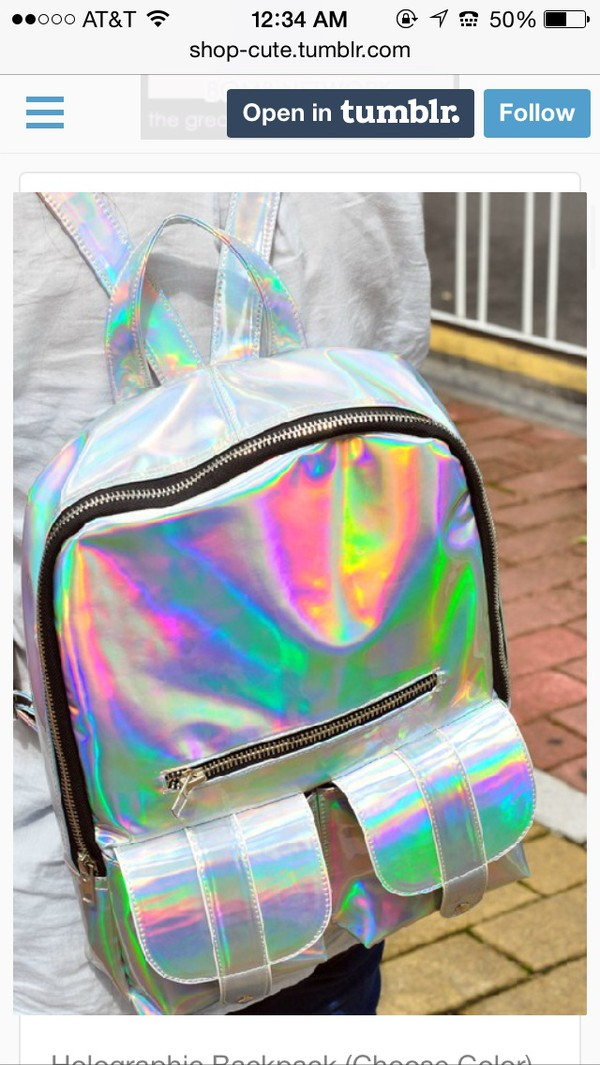 bag shiny silver back to school