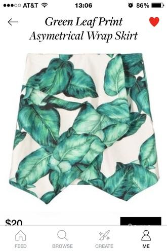 skirt leaves floral skirt green skirt white skirt asymmetrical skirt