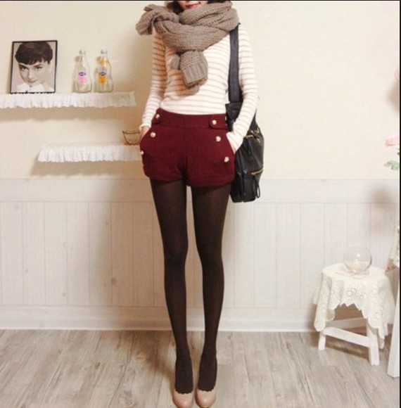 long sleeves shorts top scarf fall outfits tights white shirt stripes striped shirt