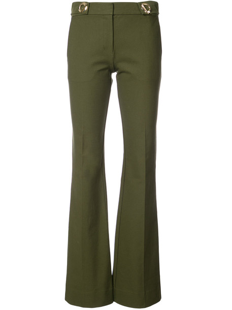 DEREK LAM 10 CROSBY flare women spandex cotton green pants