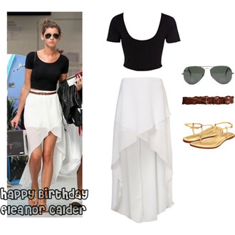 skirt summer outfits eleanor calder high-low skirt white crop tops waist belt aviator sunglasses gold t-shirt