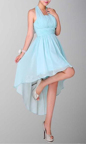 halter dress high low prom dresses high low bridesmaid dress teal dress high low dress
