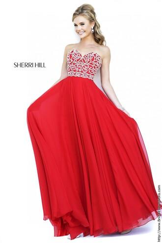 dress sherri hill chiffon long dress prom dress red prom dress long prom dress sequin prom dress formal dress sexy formal dress prom gown