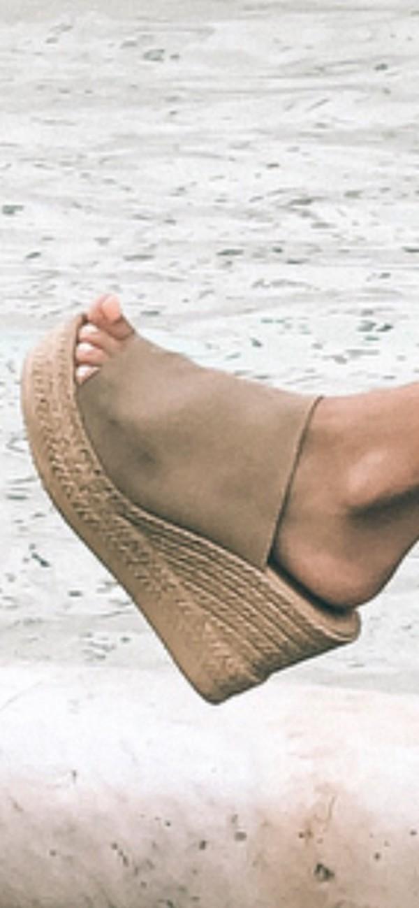 shoes espadrilles wedges tan slip on shoes suede