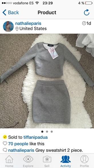 dress grey nathalie paris top skirt short dress two-pieces dress fresh dressed crop tops