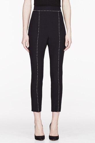 leaf pants black crepe pearl clothes women