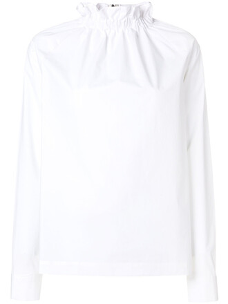 blouse high women high neck spandex white cotton top