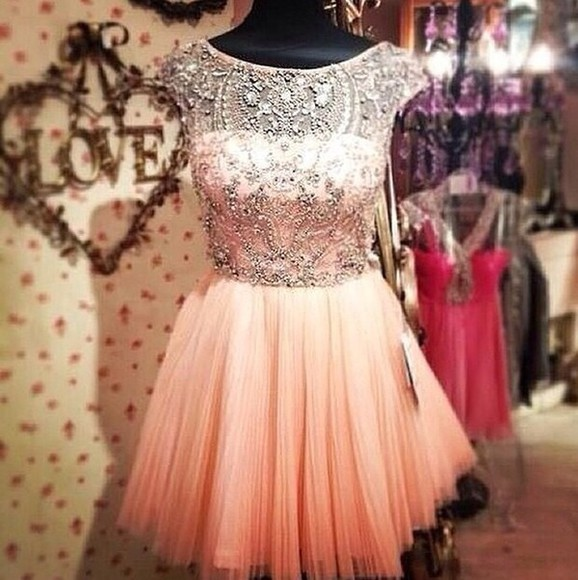 dress prom dress tulle short sparkly gems