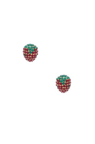 earrings stud earrings strawberry metallic gold