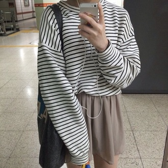 skirt stripes beige sweatshirt skater skirt jumper sweater
